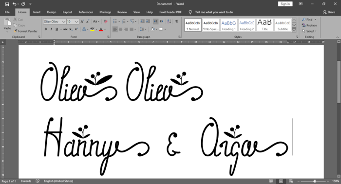 Oliev Oliev Font poster