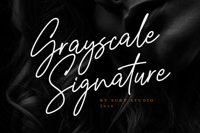 Grayscale Signature Font poster