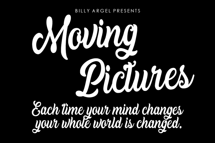 Moving Pictures Font poster