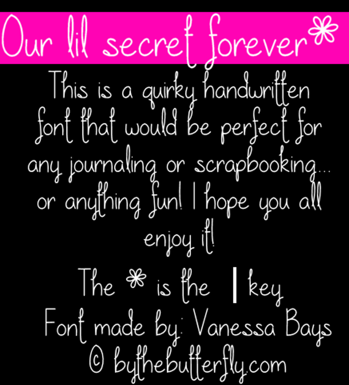 Our lil secret forever Font poster