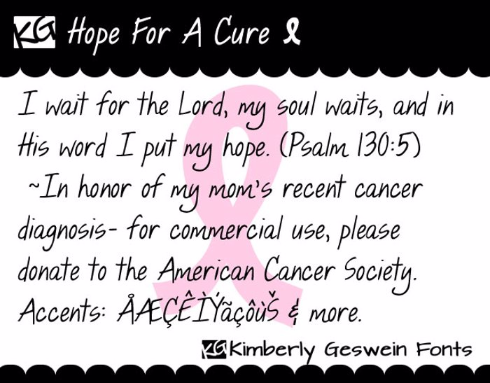 KG Hope For A Cure Font poster