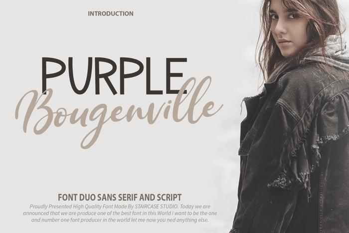 Purple Bougenville Script Font poster