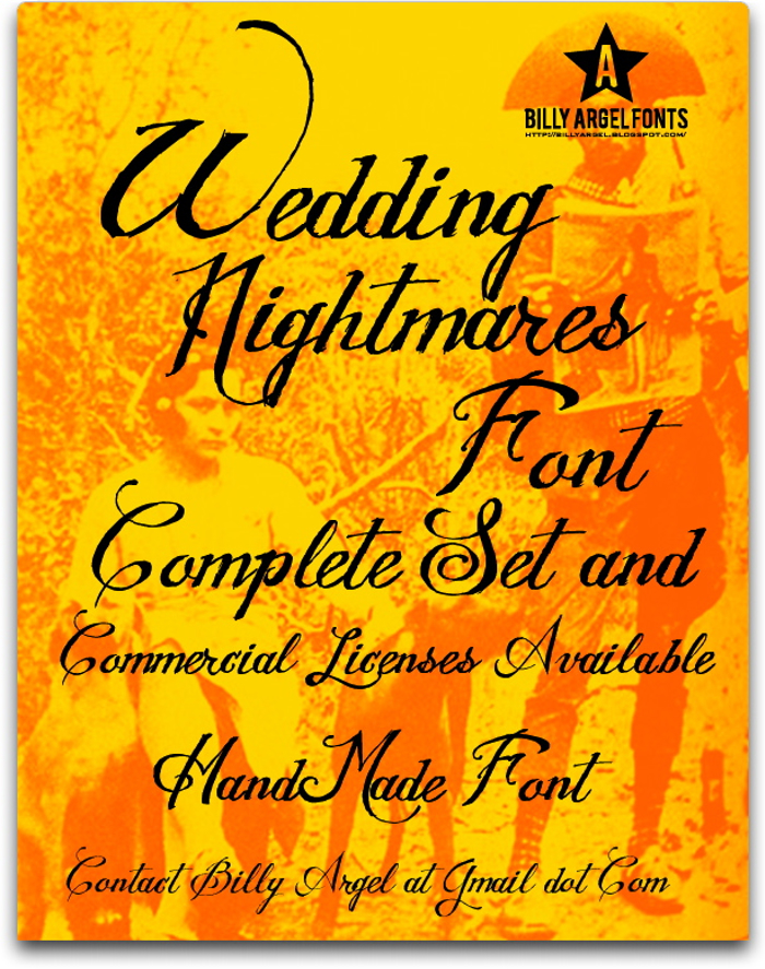 WEDDING NIGHTMARES Font poster