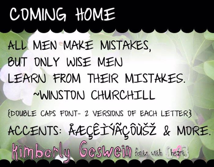 Coming Home Font poster