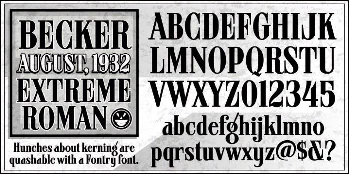 ARB 08 Extreme Roman AUG-32 CAS Font poster