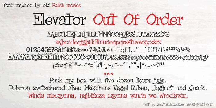 Elevator Out Of Order Font poster