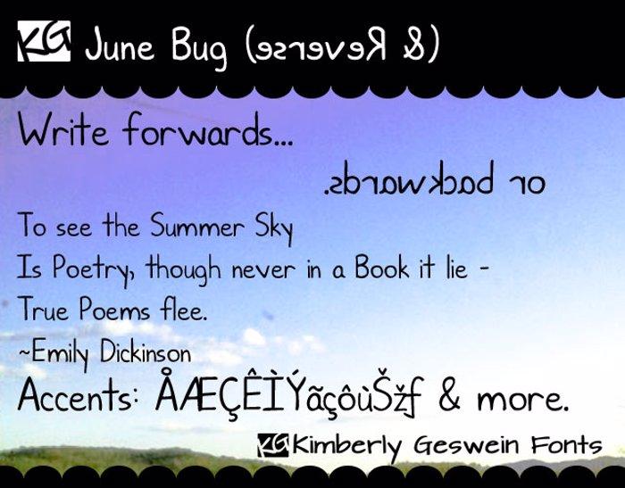 KG June Bug Font poster