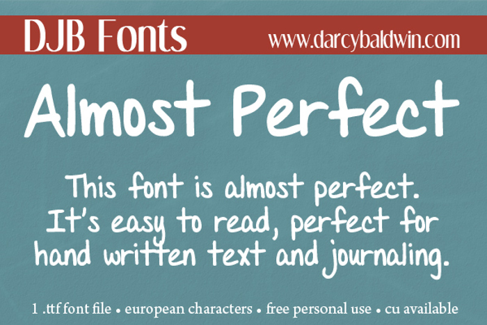 DJB Almost Perfect Font poster