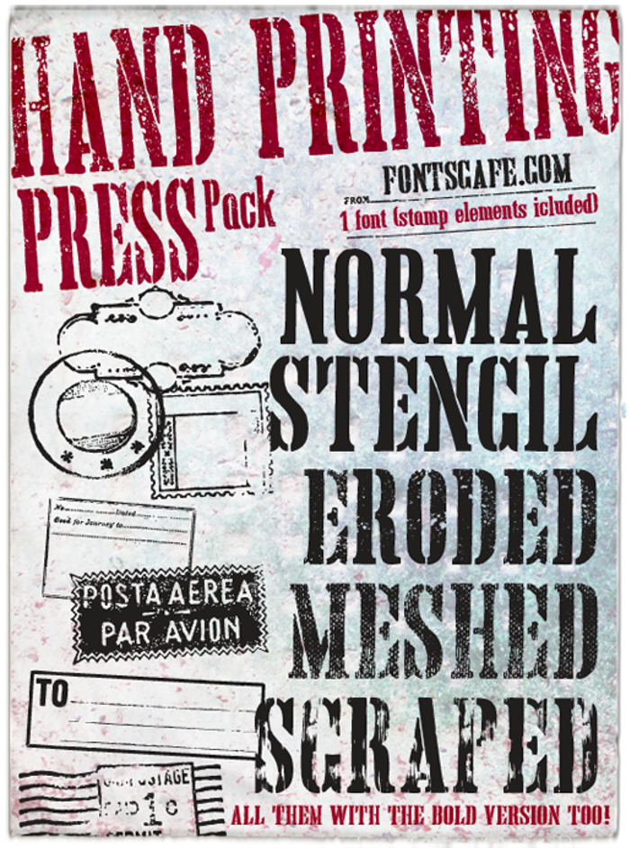 Hand Printing Press Stencil Font poster