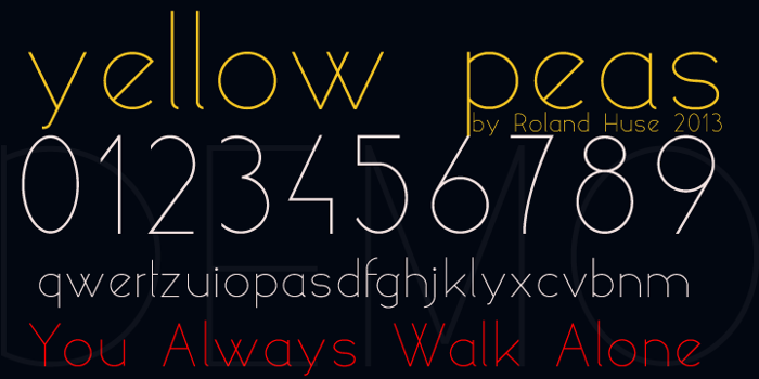 yellow peas demo Font poster