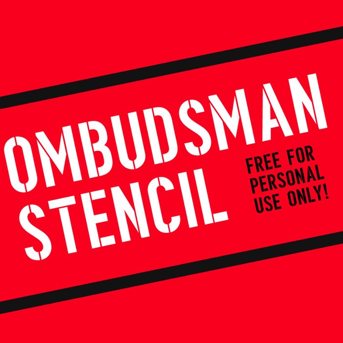 Ombudsman Stencil Font poster