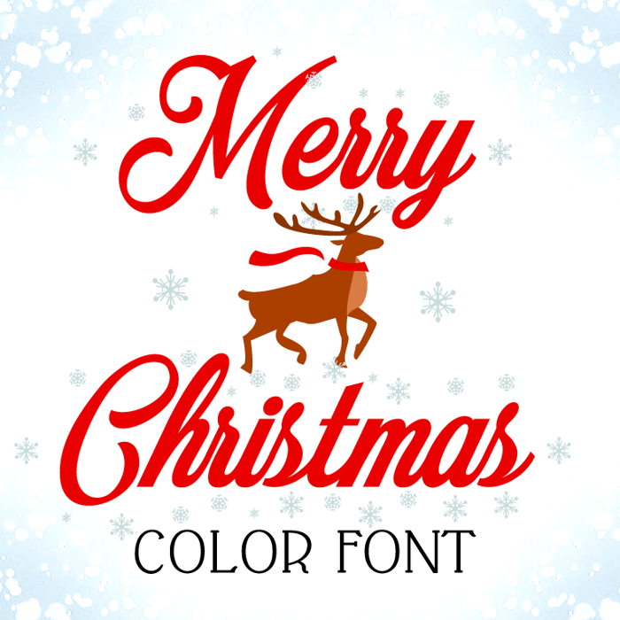 Merry Christmas Color Font poster