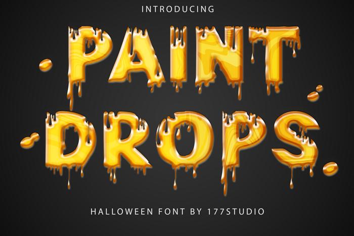 Paint Drops Font poster