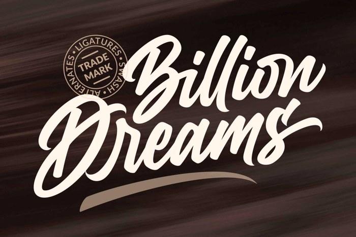 Billion Dreams Font poster