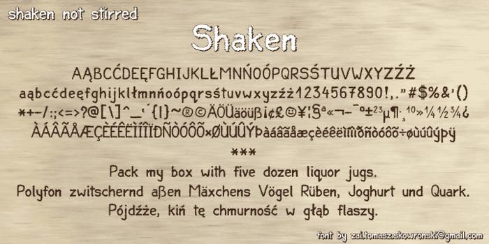 Shaken Font poster