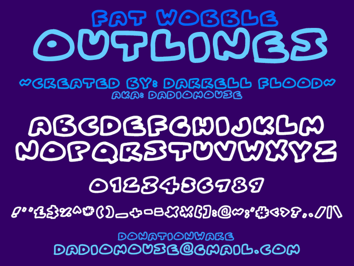 Fat Wobble Outlines Font poster