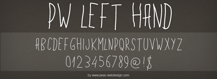 PWLeftHand Font poster