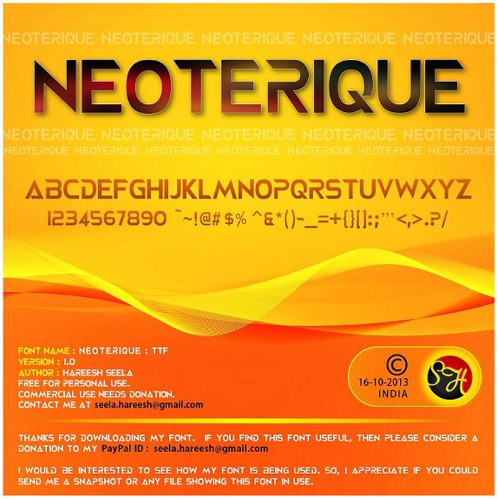 NEOTERIQUE Font poster