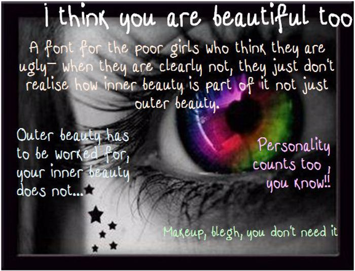 i think your beautiful too Font poster