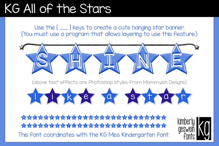 KG All of the Stars Font poster