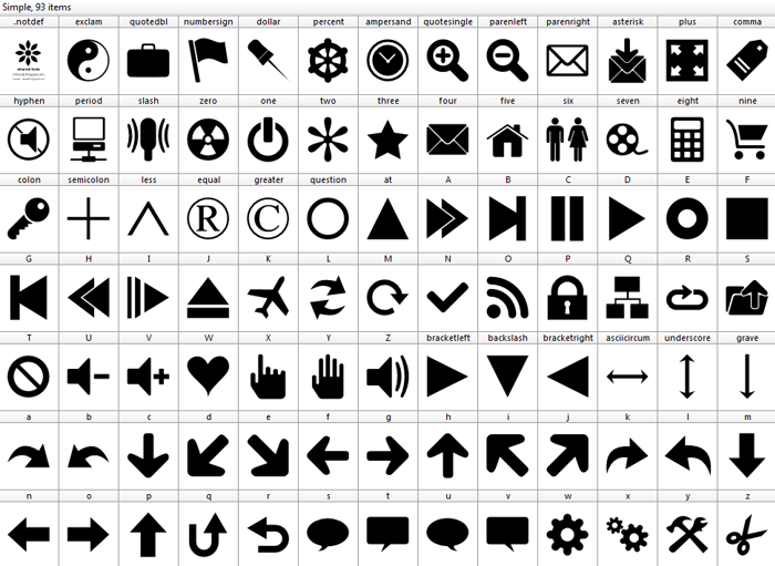 Font 90 Icons poster