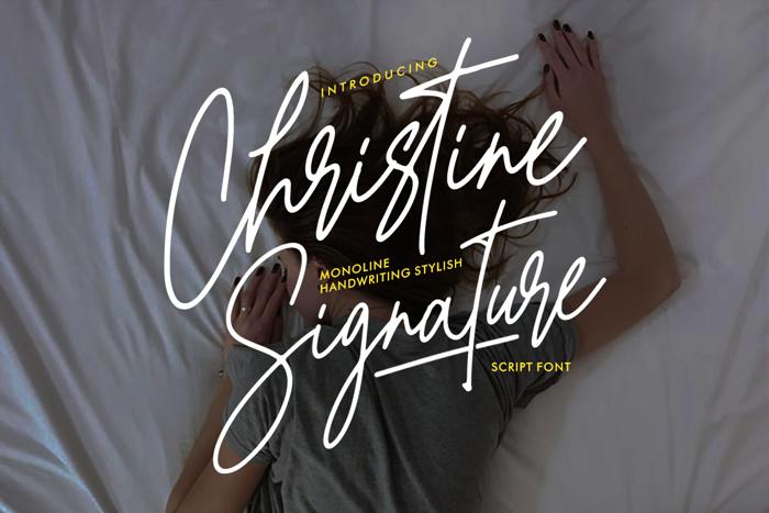 Christine Signature Font poster
