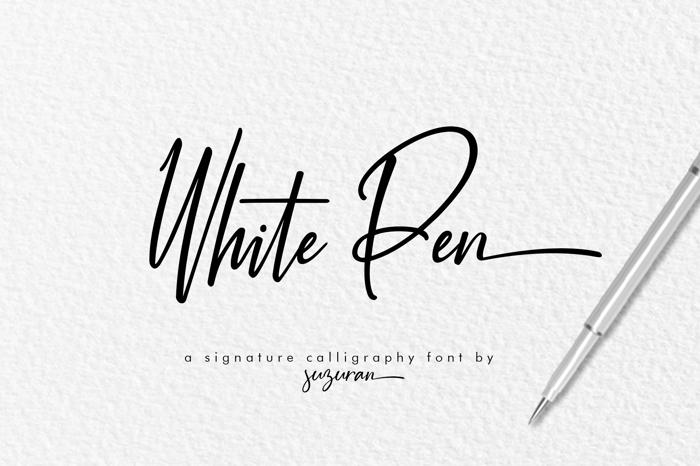 White Pen Font poster