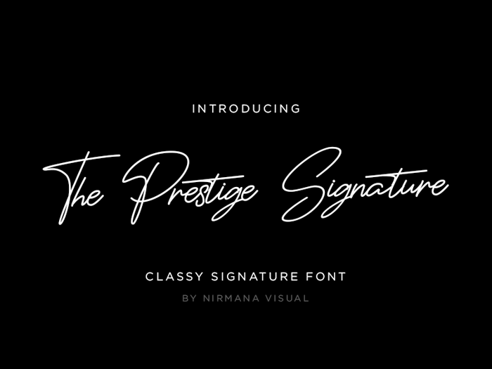 The Prestige Signature Font poster