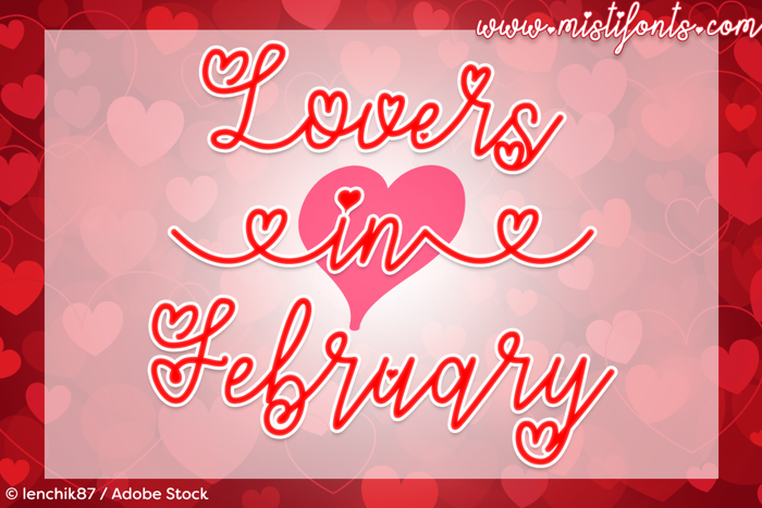 Lovers in February Font poster
