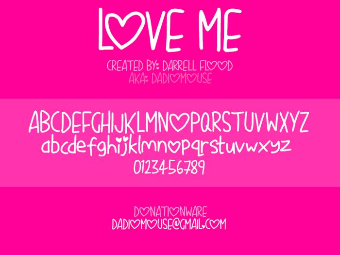 Love Me Font poster