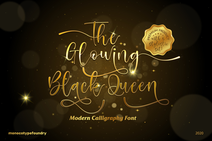 The Glowing Black Queen Font poster