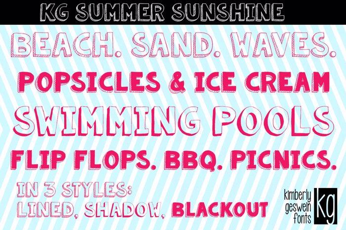 KG Summer Sunshine Font poster