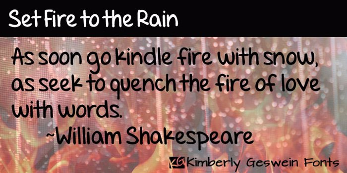 Set Fire to the Rain Font poster