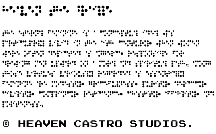 Heaven the Braille Font poster