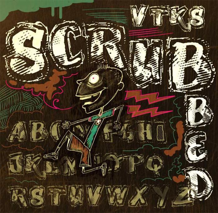VTKS SCRUBBED Font poster