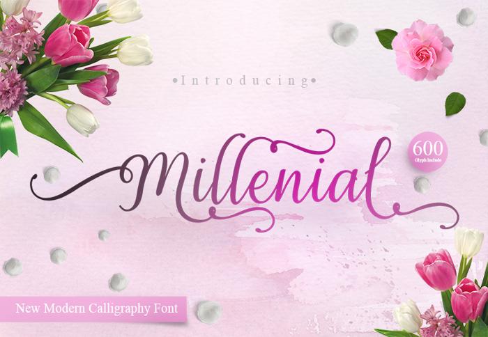 Millenial Script Font poster