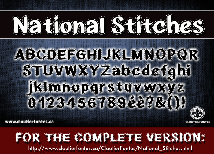 CF National Stitches Font poster