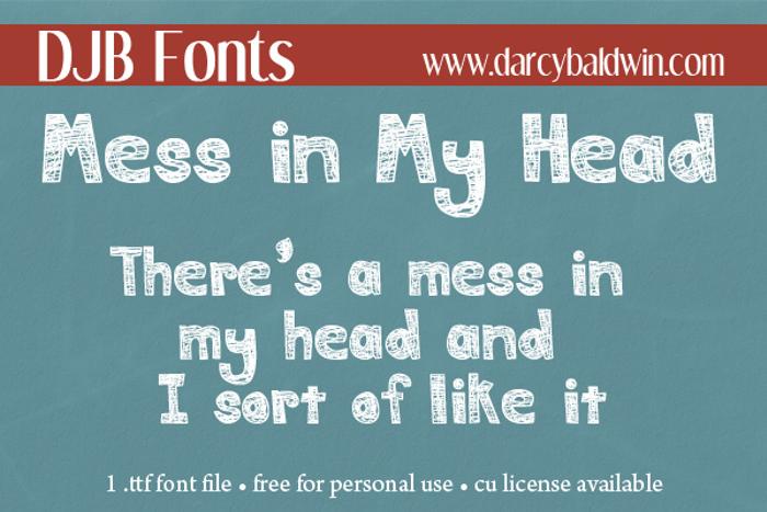 DJB MESS IN MY HEAD Font poster