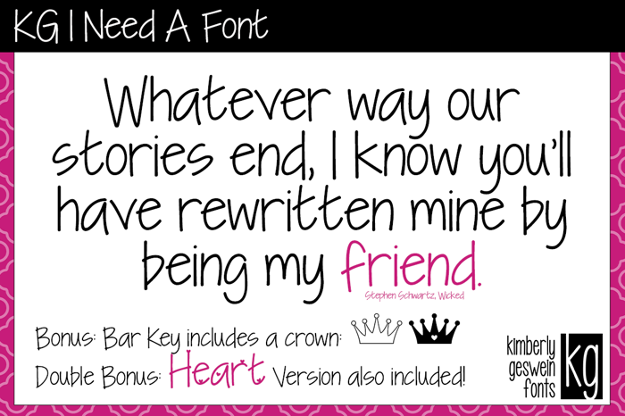 KG I Need A Font poster