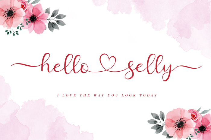 Hello Selly Font poster