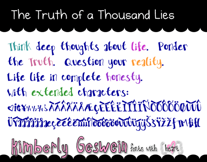 The Truth of a Thousand Lies Font poster