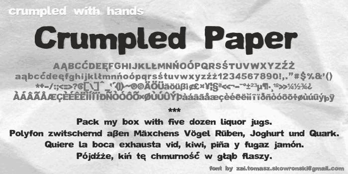 Crumpled Paper Font poster