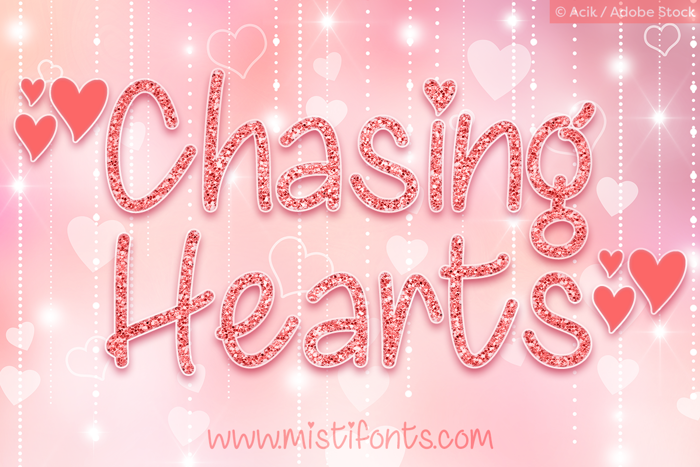 Chasing Hearts Font poster