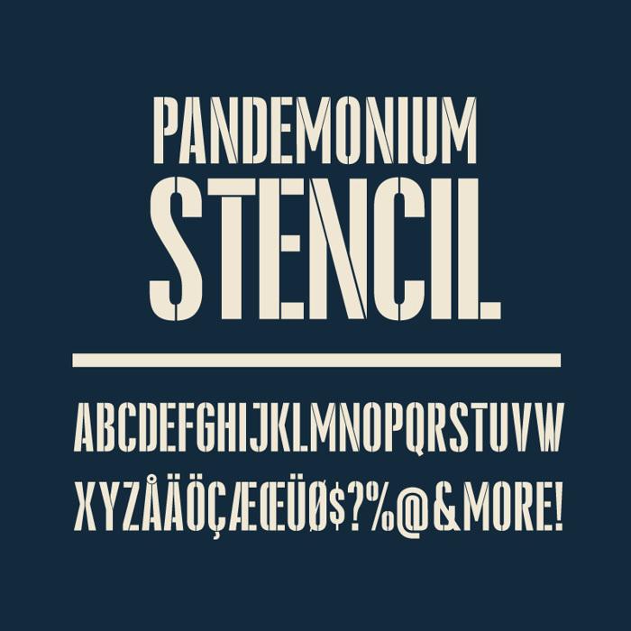 Pandemonium Stencil Font poster