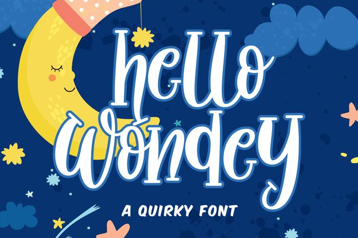 Hello Wondey Font poster
