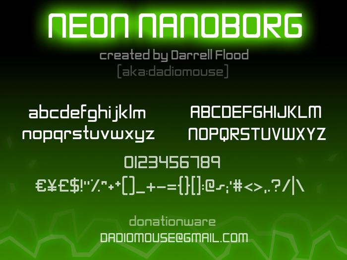 Neon Nanoborg Font poster