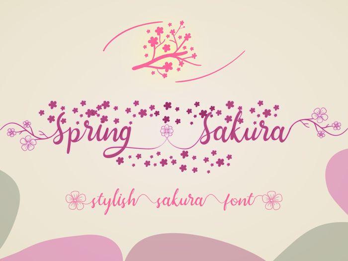 Spring Sakura Font poster
