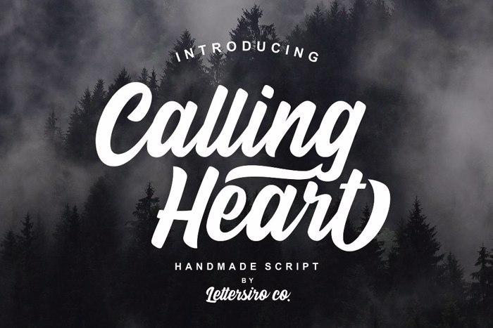 Calling Heart Font poster