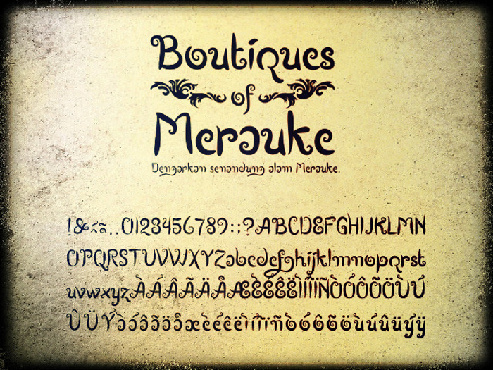 Boutiques of Merauke Font poster
