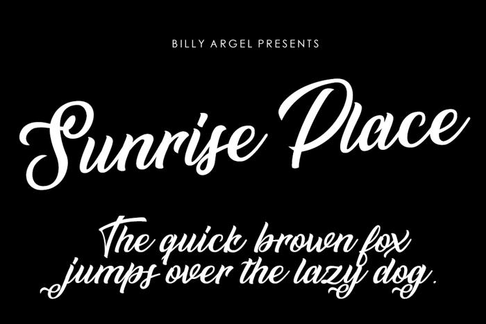 Sunrise Place Font poster